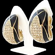 Designer Ciner Rhinestone Black Enamel Clip Earrings