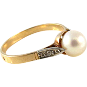 Vintage 18K Gold with Diamonds & Pearl French Ring Size 7