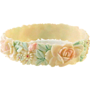 Faux Ivory Celluloid Bangle Bracelet & Hand Painted Flowers