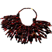Bold Vintage Wood Bead Fringed Bib Necklace