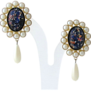 Runway Vintage Faux Pearl Opal Glass Dangle Clip Earrings