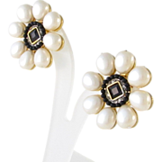 Vintage Runway Signed Craft Teardrop Faux Pearl Clip Earrings