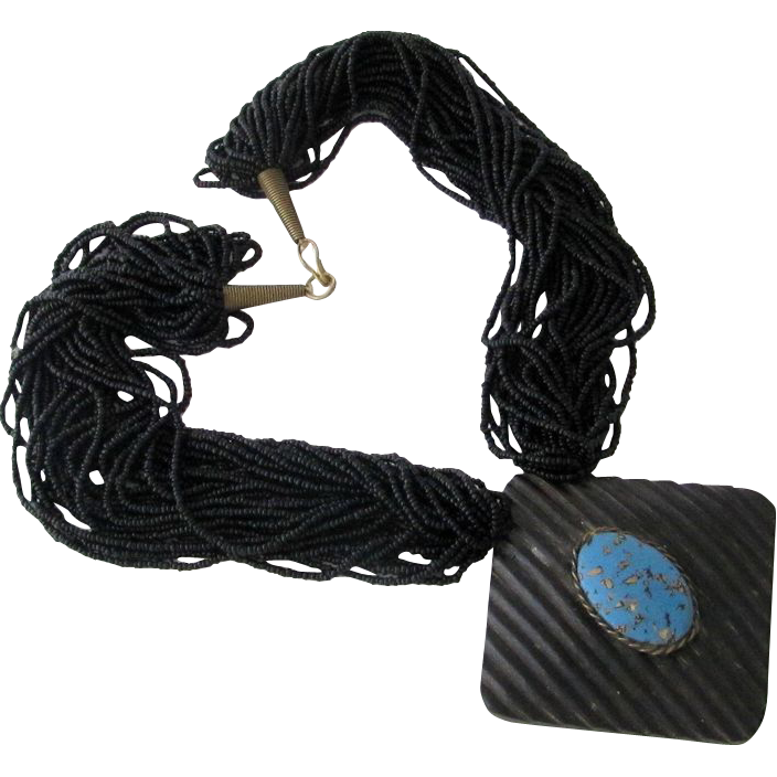 Vintage Runway Tribal Ethnic Black Glass Necklace