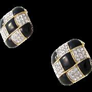 Large Black Enamel & Rhinestones Keyes Clip Earrings