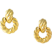 Vintage KJL Gold Tone Door Knocker Clip Earrings
