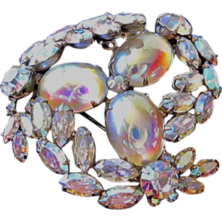 Sherman Large Crystal AB Trembler Brooch Pin