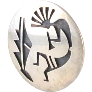 Vintage Signed Hopi Kokopelli Sterling Silver Brooch Pin