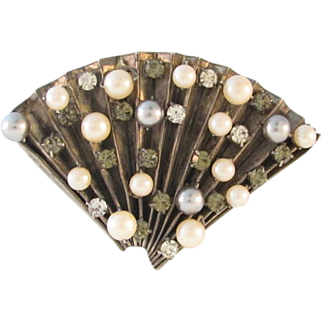 Large Vintage Fan Brooch Rhinestones and Faux Pearl
