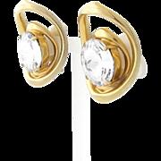Large Vintage Rivoli Clip Earrings