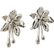 Huge Vintage Sterling Silver Puffy Hollow Clip Earrings