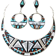 Vintage Zuni Sterling Silver Inlaid  Necklace & Earrings