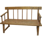 Antique Pine Doll's Bench French Canadian Mid 19th Century