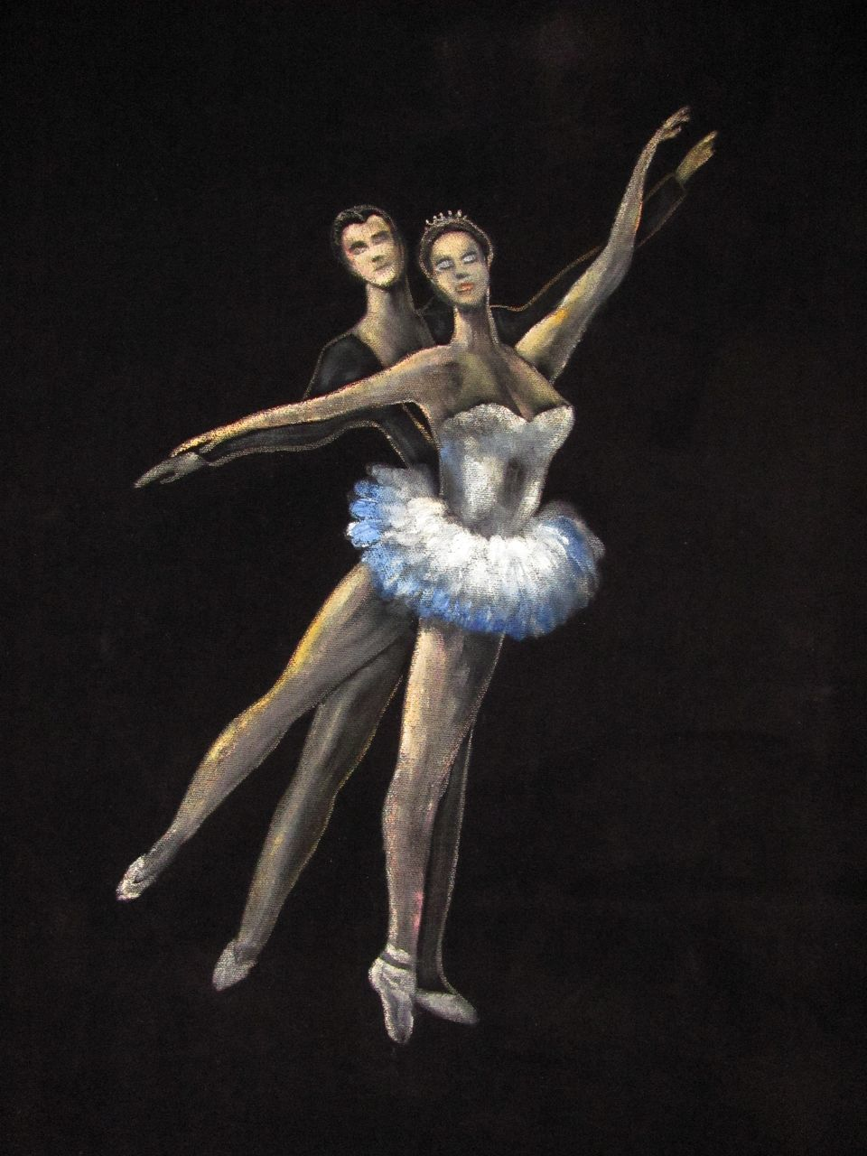 Superb Vintage Painting On Velvet Of A Couple Ballet Dancing From Cameleon On Ruby Lane