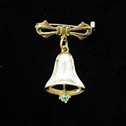 Pretty Christmas Bell Pin in Gold-Tone and Rhinestone