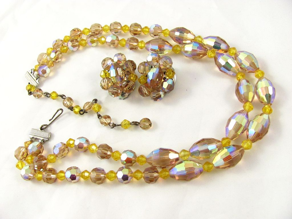 Gorgeous Light Topaz AB Crystal Two Strands Necklace & Earrings