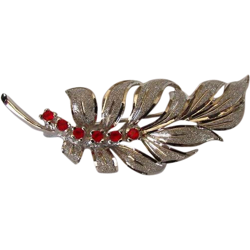 Vintage Sterling Leaf Brooch Pin with Red Rhinestones
