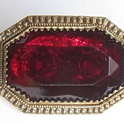 Victorian Ruby Red Brooch Pin with C Clasp