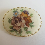 Pretty Western Germany Sugared Floral Brooch Pin