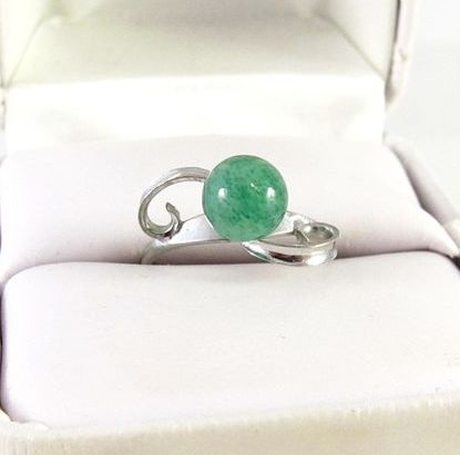 Sterling Silver and Jade Ring Size 6