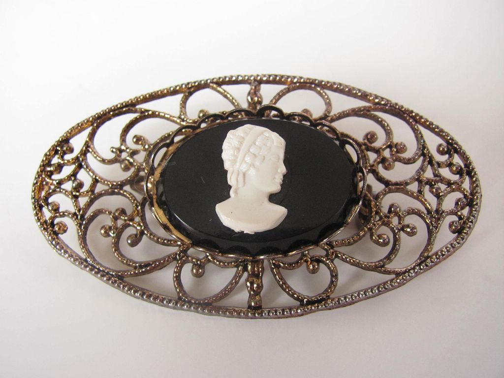 Vintage Filigree and Cameo Brooch Pin