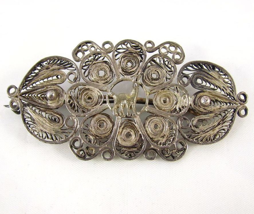 Victorian Silver Filigree brooch Pin with C Clasp SOLD on ...