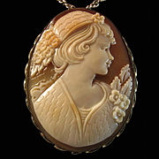 Large 49mm Lady en Chapeau Shell Cameo Sterling Silver Brooch Pendant