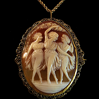 Antique Mythological Three Graces Shell Cameo Brooch Pendant 18K Rolled Gold