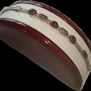 Middle Eastern 925 Silver Carnelian Cabochon Medallion Bracelet - 15.5 grams