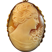 "1-3/4"" 10K Yellow Gold Shell Cameo Brooch Pendant"