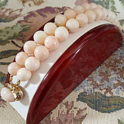 Grand 14K Double Strand Blush Angel Skin Coral 11.5mm Bead Bracelet
