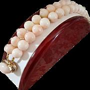 Grand 14K Double Strand Blush Angel Skin Coral 11.5mm Bead Bracelet