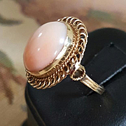 14K Blush Angel Skin Coral Cabochon Ring - Size 6