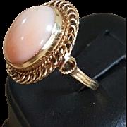 14K Blush Angel Skin Coral Cabochon Ring - Size 6