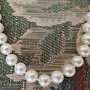 14K White Gold Japanese Akoya Cultured Saltwater Pearl 6.7-7.5mm Necklace