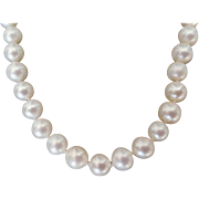 14K White Gold Japanese Akoya 6.7-7.5mm Cultured Saltwater Pearl Necklace