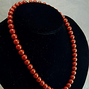 Italian Intrigue 18K Red Jasper 8mm Bead Necklace Diamond Push Button Clasp