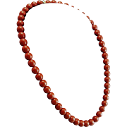 Spagnoletti 18K Red Jasper 8mm Bead Necklace with Diamond Bead Clasp