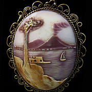 Vesuvius Bay of Naples Shell Cameo Scene Vermeil Pendant Necklace - 18""