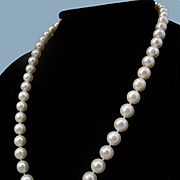 14K WG Japanese Akoya Cultured Pearl 8mm Necklace - 18""