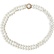 Classic 14K Double Strand Angel Skin Coral Bead Necklace