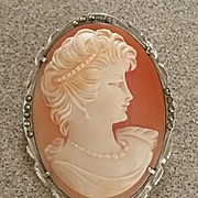 Sassy Mid Century Portrait Shell Cameo 925 Silver Marcasites Brooch Pendant