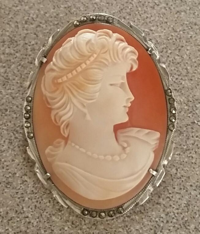 Sassy Mid Century Portrait Shell Cameo 925 Silver Marcasites Brooch Pendant Free Shipping