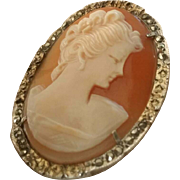 Radiant 1940's Shell Cameo Brooch Pendant 800 Silver Gold Vermeil