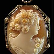 """1930's 1-5/8""""  14K White Gold Shell Cameo Goddess Flora Brooch Pendant"""