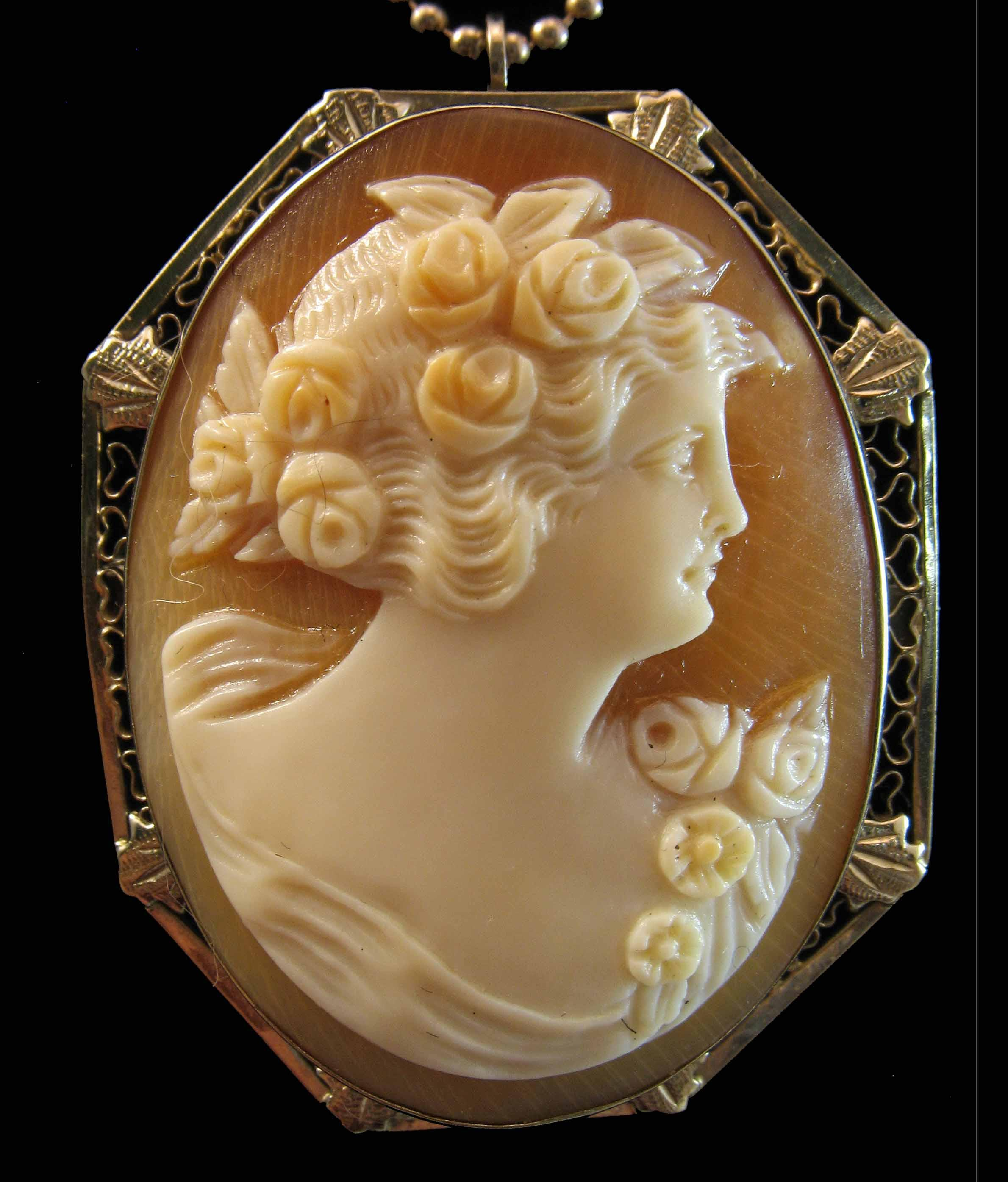 14K White Gold Shell Cameo Goddess Flora Brooch Pendant  7.1 grams