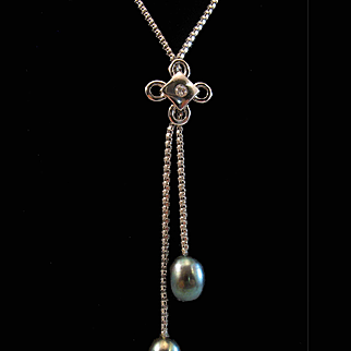 18K White Gold Lariat Tahitian Cultured Pearl Necklace Chain - 5.8 grams