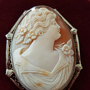 "Elegant 1-3/4"" 14K White Gold Shell Cameo Brooch Pendant 12 grams"
