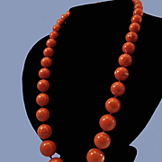 Luxurious 18K Japanese Genuine Momo Coral Large Bead 10-18.3mm Necklace - 120.3 grams