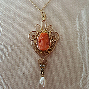 "Art Nouveau 14K Coral Cameo Lavaliere Pendant Necklace & 18"" Gold Chain"