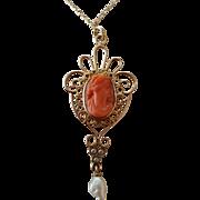 """Art Nouveau 14K Coral Cameo Lavaliere Pendant Necklace 18"""" Chain"""